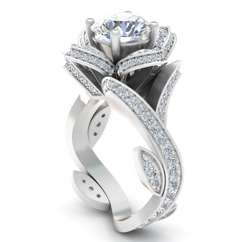 Luxury Female Flower Bridal Wedding Ring Set Fashion 925 Silver Filled Jewelry Promise CZ Stone Band Engagement Rings For Women in Rings from Jewelry Accessories