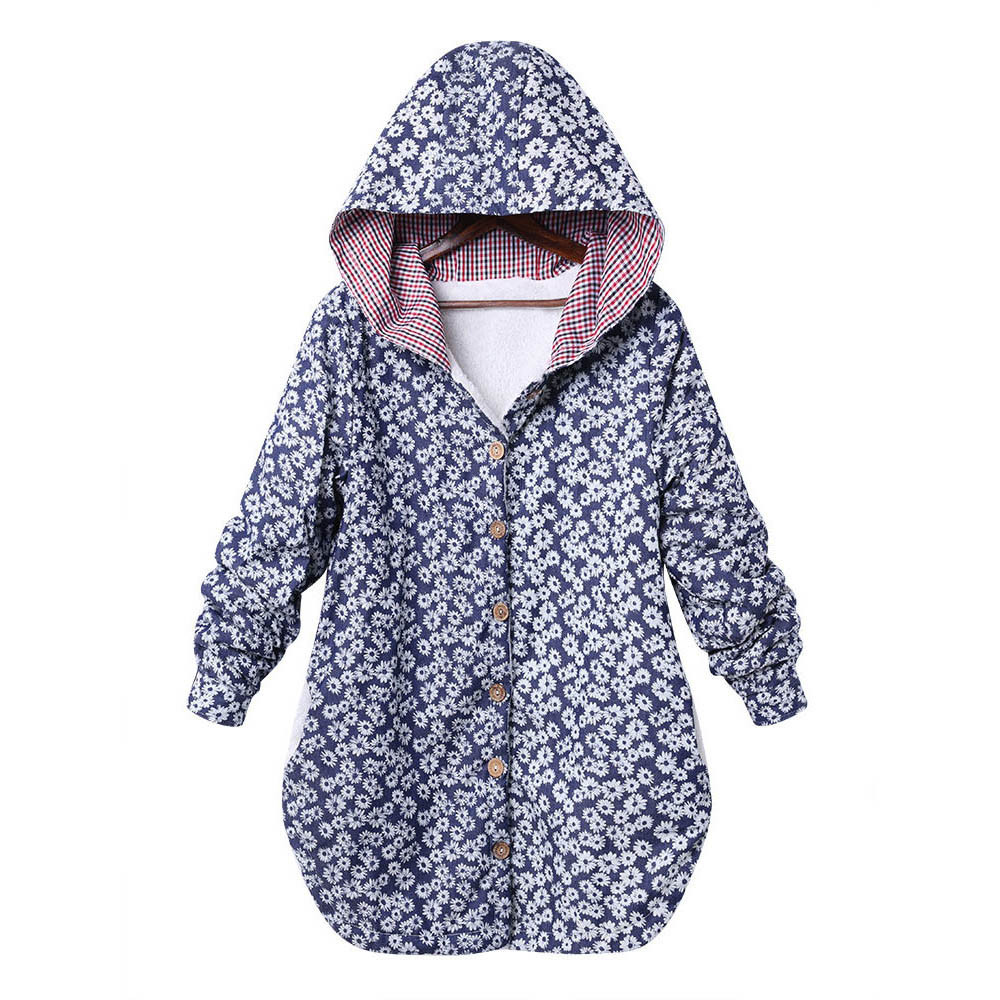 Winter Hooded Coat Jacket Fashion Women Casual Loose Warm Outwear Foral Pullover
