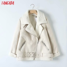 Tangada Women beige fur faux leather jacket coat with belt turn down collar Ladi
