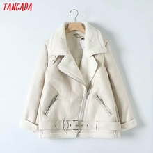 Tangada Women beige fur faux leather jacket coat with belt t