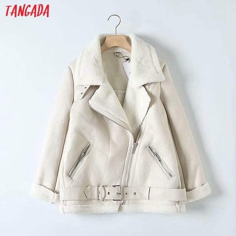 Tangada, женская бежевая Меховая куртка из искусственной кожи, пальто с поясом, отложной воротник, для девушек, 2019, зимнее плотное теплое пальто большого размера 5B01 on AliExpress - 11.11_Double 11_Singles' Day