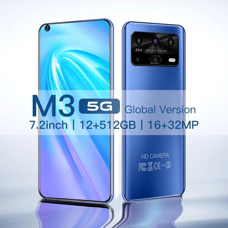 Смартфон Android M3 12 ГБ 512 Celulares Octa Core HD Камера 7,2