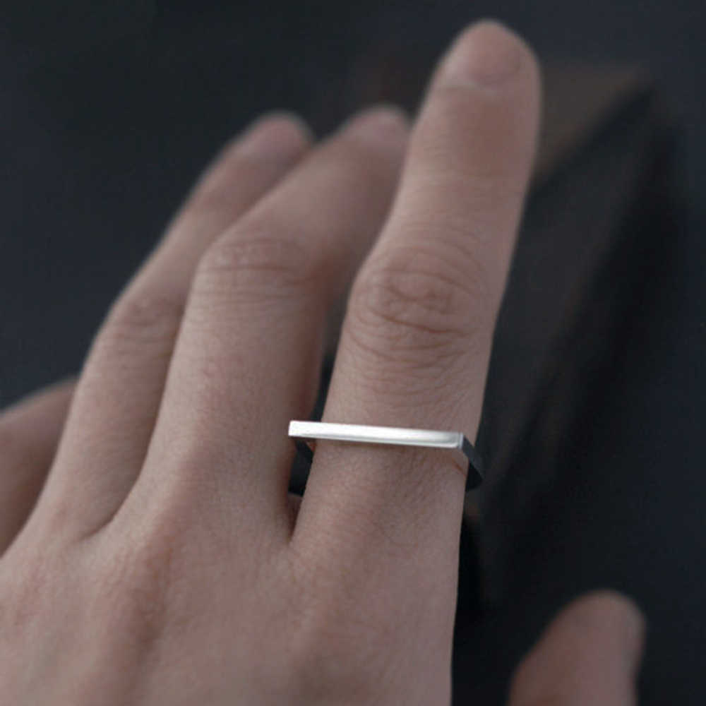 טבעת אצבע פופולרי היפ הופ נירוסטה טבעות לנשים D צורת פשוט גיאומטרי פאנק אצבע טבעת תכשיטי זרוק משלוח סיטונאי