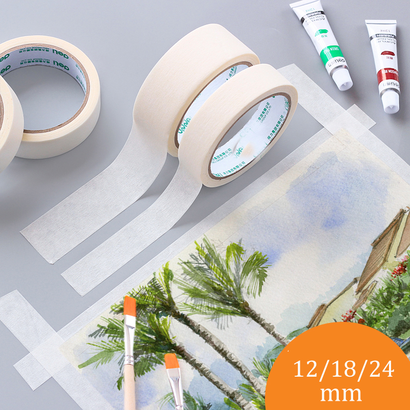 12/18/24mm 20m Long Masking Tape Beige Color Car Spraying Single Side Adhesive Tape for Car House Oil Painting Sketch Wholesale 6