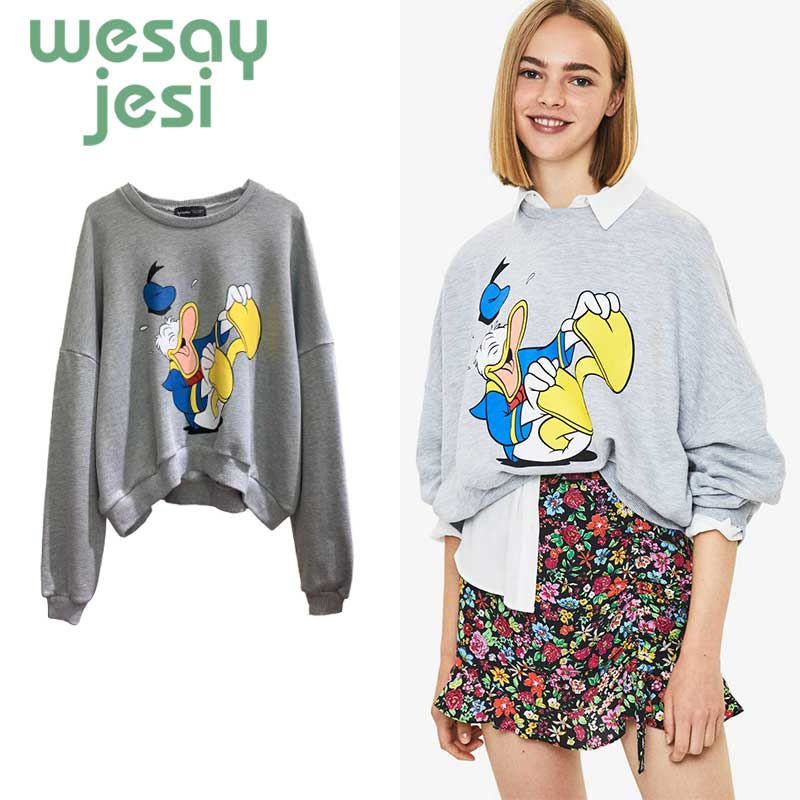 Autumn Women Hoodies harajuku Cartoon print girl Sweatshirts O neck warm oversize Pullover Outerwear plus size tops in Hoodies amp Sweatshirts from Women 39 s Clothing