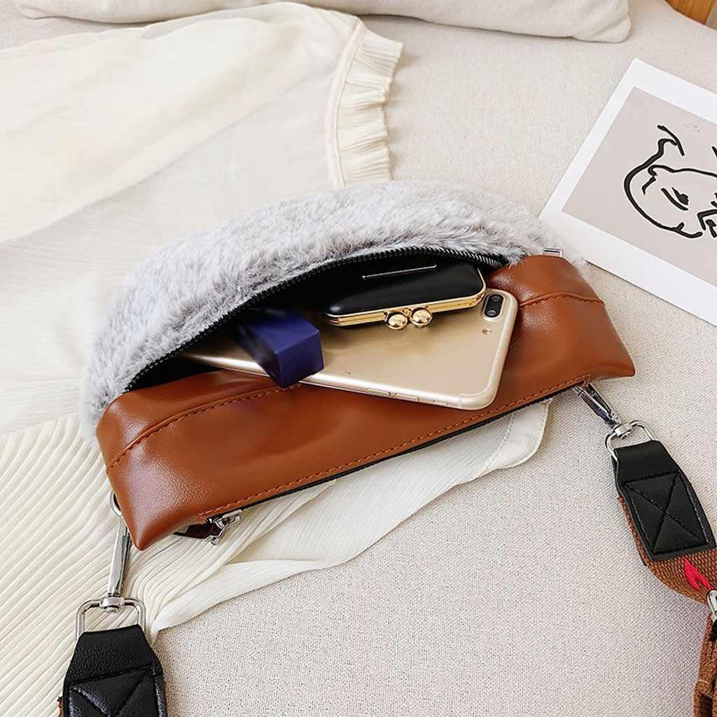 ファッションの女性ステッチぬいぐるみポケット冬のファッションニューシングルショルダーバッグ斜めクロスフィットスポーツ胸ポケット поясная сумка
