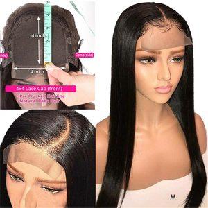 Закрытия шнурка человеческих волос парики прямые предварительно выщипанные волосы с детскими волосами 8-28 дюймов 4x4 150% перуанские натураль...