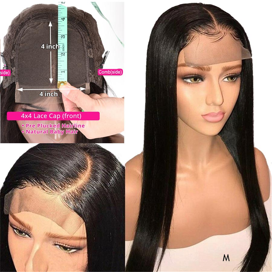 Lace Closure Human Hair Wigs Straight Pre Plucked Hairline With Baby Hair 8-28 Inch 4x4 150% Peruvian Remy Real Human Hair