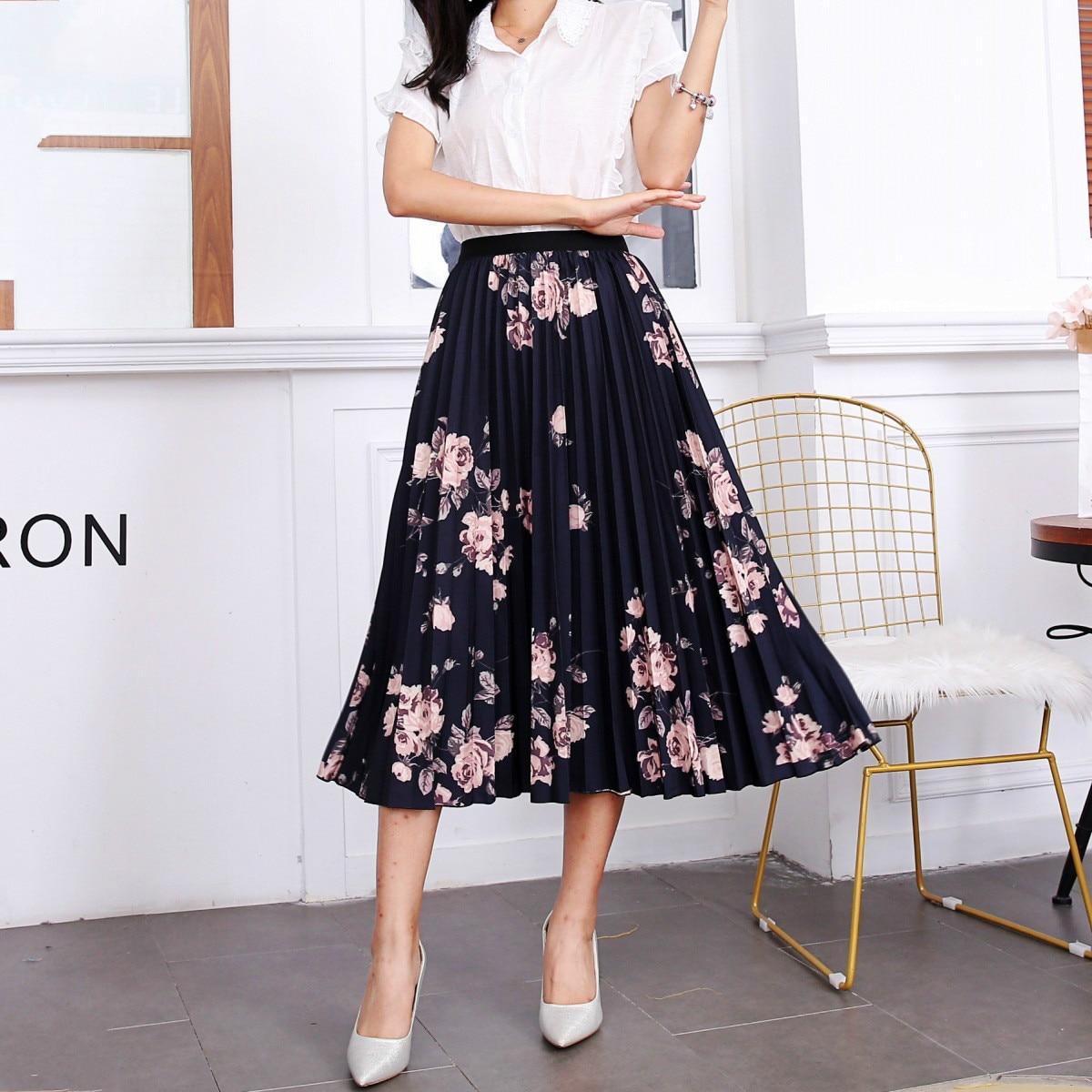 2020 New Summer Skirts Womens Butterfly Catroon Print Empire High Waist Elastci Pleated Midi Skirt European High Street Style 9