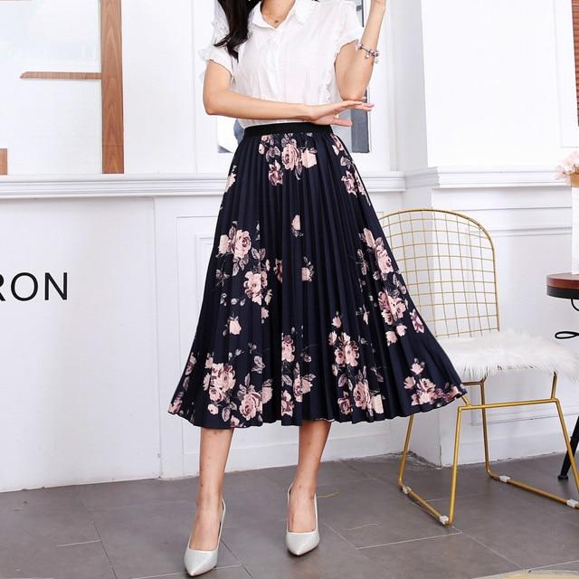 2020 New Summer Skirts Womens Butterfly Catroon Print Empire High Waist Elastci Pleated Midi Skirt European High Street Style 2