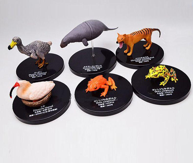 Mini pvc figure simulée animal extinction animal algue éleveur flèche grenouille sac loup 5 pièces/ensemble