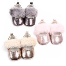Fashion Newborn Baby Shiny Shoes First Walker Toddler Kids Girls PU Leather Sequin Infant Soft Sole Shoes Autumn Spring Mocc(China)