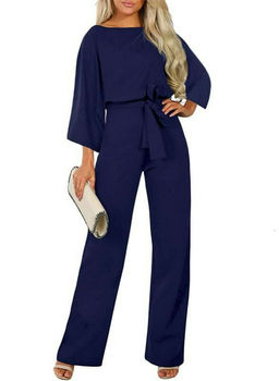 2019 New Women Female Fashion High Waist Long Sleeve Jumpsuit Autumn Cotton Long Sleeve Casual Loose Romper Trousers Ladies Pant 4