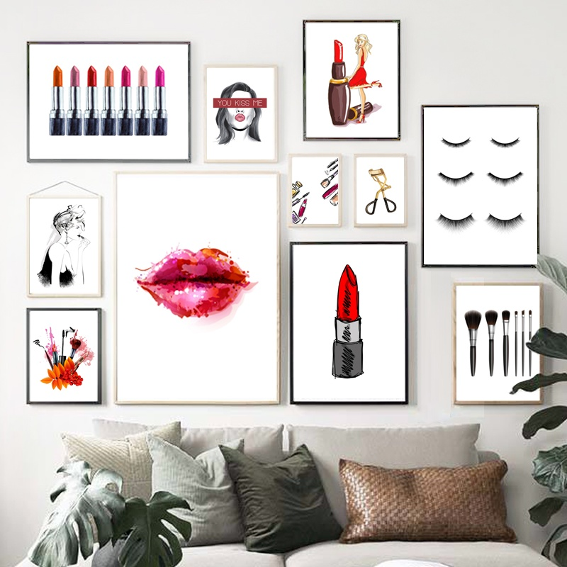 Fashion Girl Lipstick Eyelash Wall Art Print Canvas Paintings Nordic Posters And Prints Wall Pictures For Living Room Salon in Painting Calligraphy from Home Garden