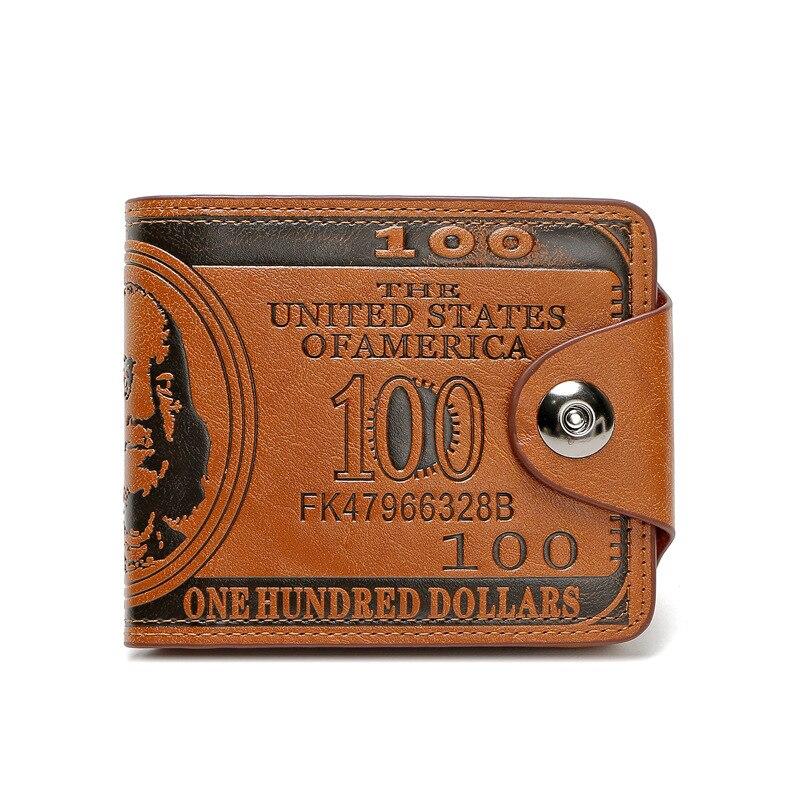2019 New Fashion Men Leather Buckle Magnetic Dollar Wallet Pressure Change Creative Men's Wallet Short Slim Purses Money Clip