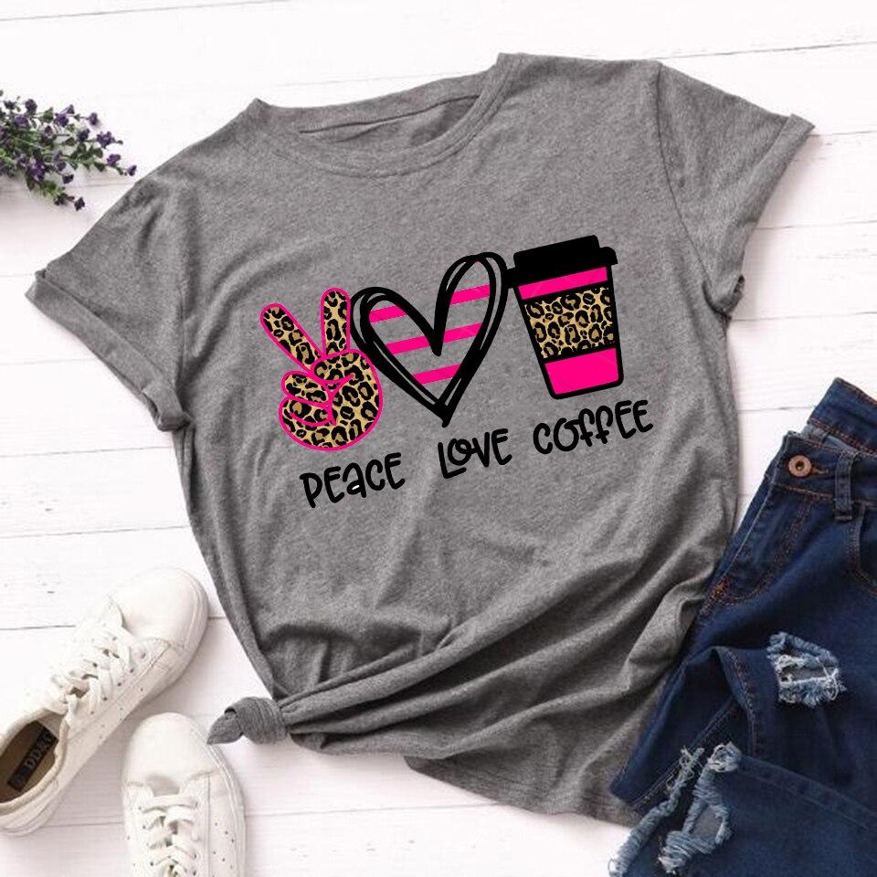 Fashion Woman 2020 Tops Tshirt Leopard Peace Love Coffee Streetwear T Shirt Casual O-neck T-shirt Summer Female Tee Shirts Women