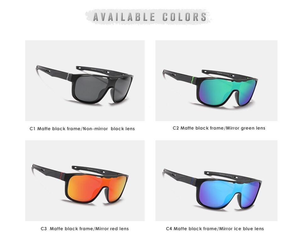 KDEAM One Piece Shape Polarized Sunglasses Men Sports Shield Glasses Oversized Reduce windage Designed Frame