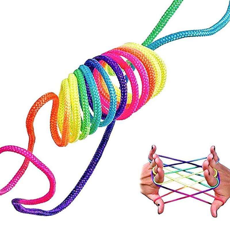 Kids Children Finger Rope Game Rainbow Color Various Figures Thread Puzzle Toy Exercise Practical Ability Color Cognition