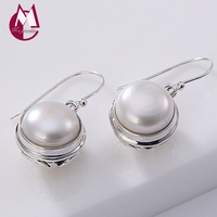 Women Drop earring 100% Real Pure 925 Sterling Silver Baroque Black and white Pearl Dangle Wedding Earring fine Jewelry 2019 E4