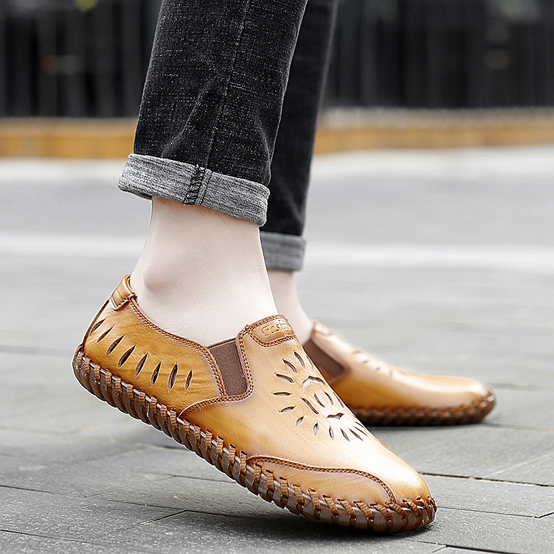 men genuine leather casual loafers Summer flats slip-on breathable handmade sewing moccasins autumn punching fashion drive shoes 1