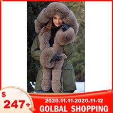 Tatsana abrigo de piel auténtica para mujer, Parka con Cuello de piel de zorro y puño, Parkas gruesas de invierno, Natural y cálida chaqueta de piel, abrigos de piel de zorro larga