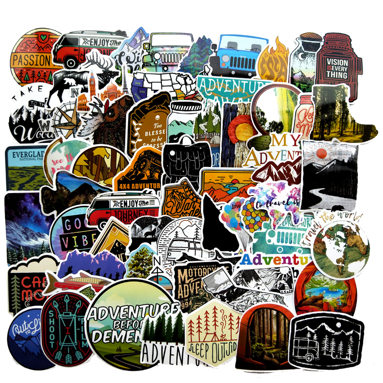 66pcs Camping Landscape Sticker Outdoor Adventure Climbing Travel Waterproof Car Shape Sticker To Suitcase Laptop Bicycle Helmet
