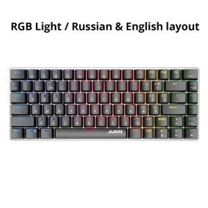 Image 2 - Ajazz AK33 82 Toetsen Mechanische Toetsenbord Russisch/Engels Layout Gaming Toetsenbord Rgb Backlight Blauw/Zwarte Schakelaar Bedraad Toetsenbord