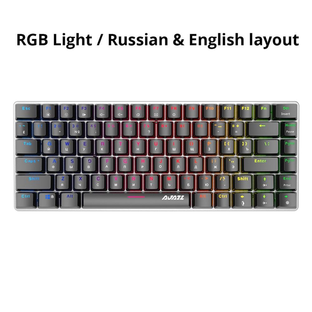 Ajazz AK33 82 keys mechanical keyboard Russian English layout gaming keyboard RGB backlight blue black switch