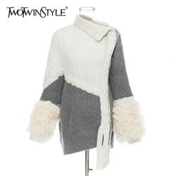 TWOTWINSTYLE Patchwork Wolle Stricken frauen Pullover Unregelmäßigen Kragen Langarm Strickjacken Asymmetrische Weibliche Pullover Mode