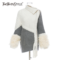 TWOTWINSTYLE Patchwork Wool Knitting Women's Sweater Irregular Collar Long Sleeve Cardigans Asymmetrical Female Sweaters Fashion