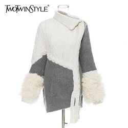TWOTWINSTYLE suéter de punto de lana de Patchwork para mujer cuello Irregular de manga larga Cardigans suéteres femeninos asimétricos de moda