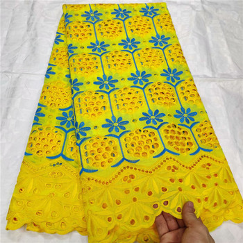 yellow 2019 New Design 100%Cotton lace swiss voile lace in switzerland robe nigerian lace fabrics african wedding dress material