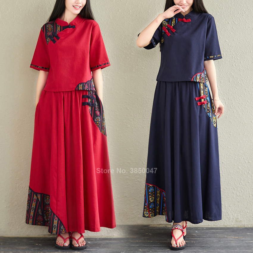 2020 Chinese Traditional Clothing For Womne Female Linen Stiching Qipao Cheongsam Dress Retro Vintage Short Sleeve Red 2pcs Set