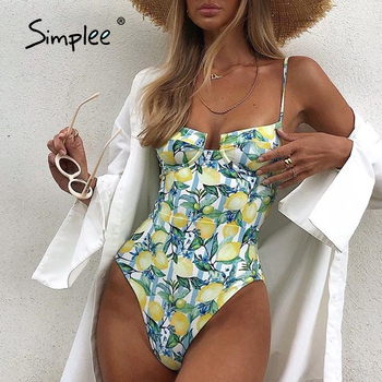 Simplee Floral print swimwear female  Fruit print monokini String vintage bathing suit 2021 new Push up one piece swimsuit women 1