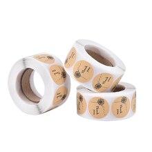 500PCS/lot Vintage Round  Kraft Label Sticker heart/Thank you DIY Multifunction Adhesive Packaging Sealing Label Sticker