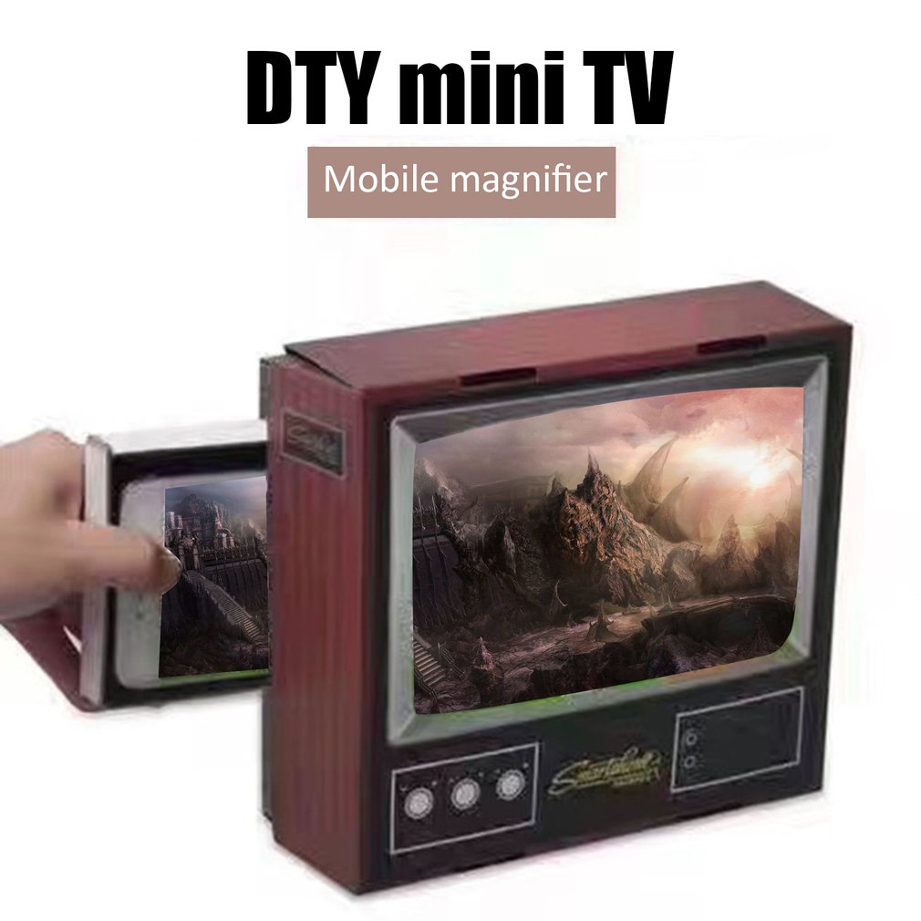 Phone Video Screen Magnifier Retro Small TV Magnifying Tools DIY Fold Magnifiers Desktop Universal Phone Film Amplifier in Home Theatre System from Consumer Electronics