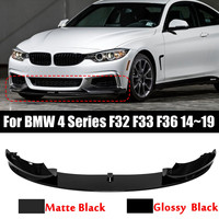 NEW M Sport M tech Car Front Bumper Lip Spoiler Splitters PP Matte/Glossy Black For BMW 4 Series F32 F33 F36 2014~2019