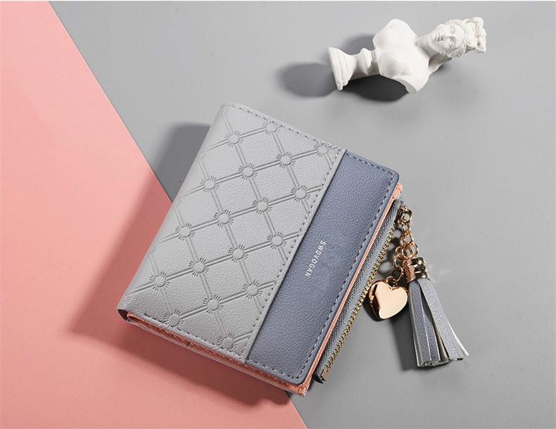 Кожаный кошелек с кисточками для женщин, маленький роскошный бренд, известные мини женские кошельки, кошельки, женские короткие Портмоне на молнии, кошелек Cartera Mujer - Цвет: Gray