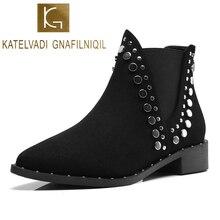 KATELVADI New Arrival Fashion Shoes Women Black Flock With Rivets 4CM Sqaure Heel Warm Plush Inside Winter Boots  K-544