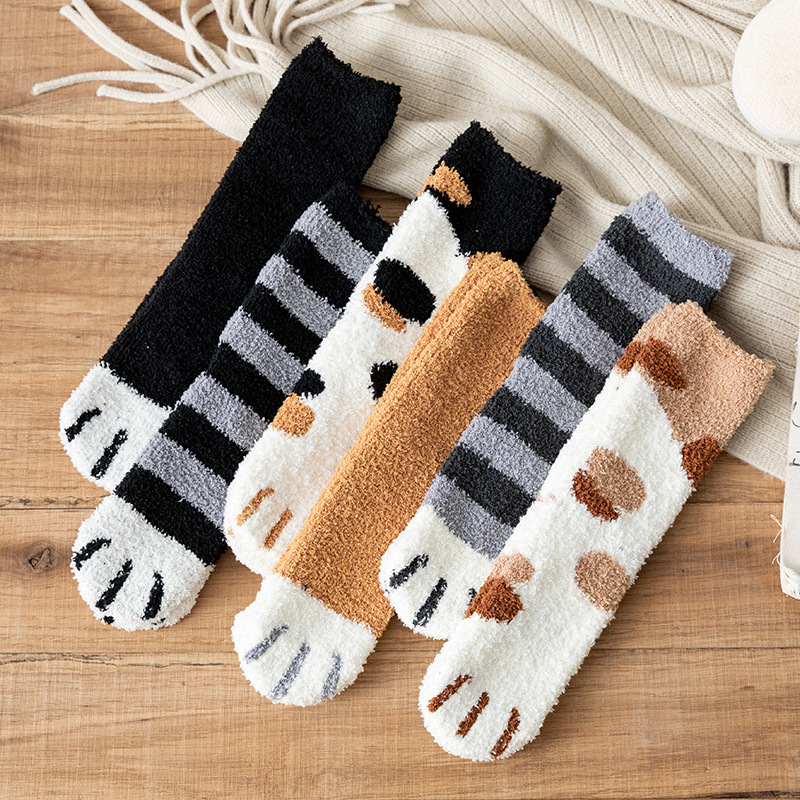 Autumn and Winter Cat Claws 1 Pair of Plush Coral Fleece Socks Cute Thick Warm Sleeping Floor Sleep Socks Female Tube Socks