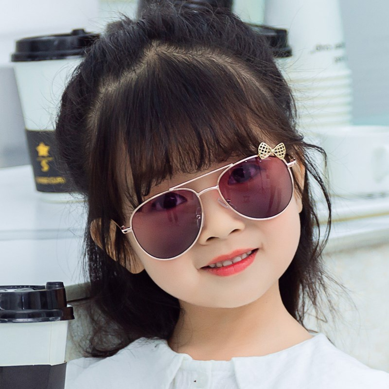 Модные солнцезащитные очки XojoX с бантом для девочек, детские очки в металлической оправе, Детские уличные очки, очки для вечеринки, милые сти...