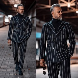 Black Men Suits Peaky Blinders Two Pieces White Stripe Designer Wedding Tuxedos Custom Made Mens Jacket and Pants