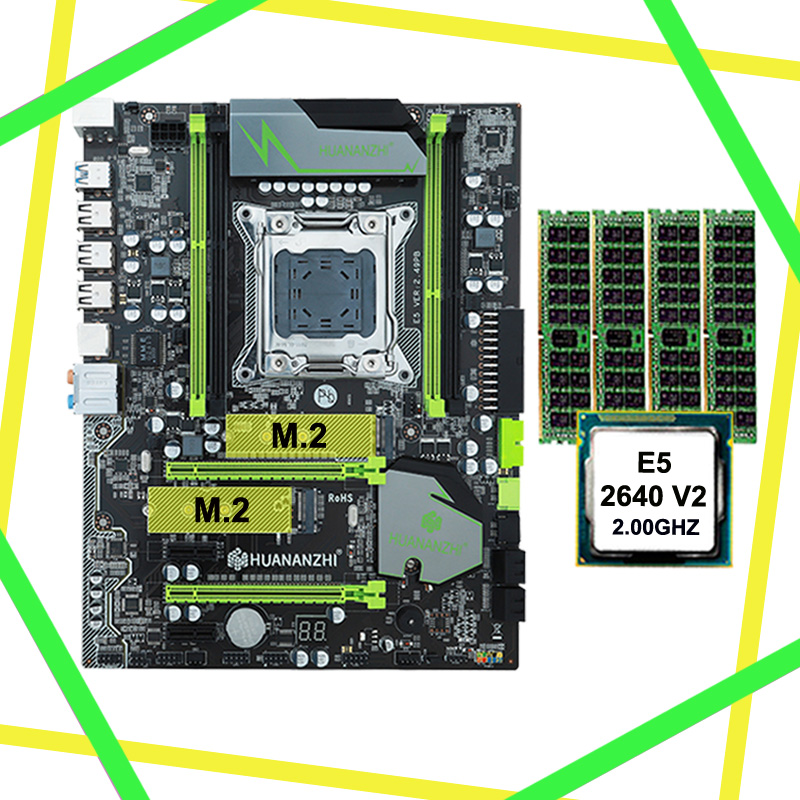 HUANAN ZHI discount motherboard with M.2 slot X79 LGA2011 motherboard with CPU Intel <font><b>Xeon</b></font> E5 <font><b>2640</b></font> V2 RAM (4*8G)32G 1600 REG ECC image