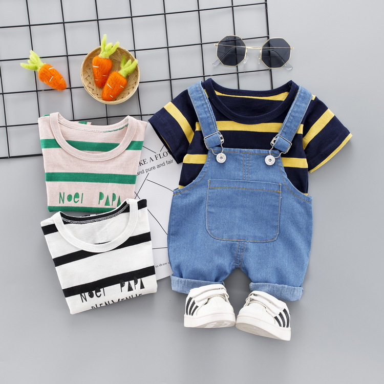 Baby Summer Wear Men's 0-3-Year-Old Clothes For Babies Small BOY'S Western Style Suspender Pants Children Handsome Two-Piece Set