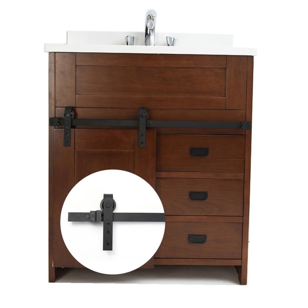 Mini herrajes para puertas corredizas de granero de 3,3 pies, sistema de puerta corredera de acero al carbono negro para cocina, gabinete de baño