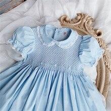 Meninas vestido de smocking bebê artesanal roupas para a menina crianças peter pan collar rendas vestidos infantis boutique