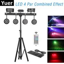 LED 4 Par Combined Effect Light Par Derby Strobe Laser Show Light 126W RGBW LED Par Kits DMX Controller For Party Light Music Dj цена 2017