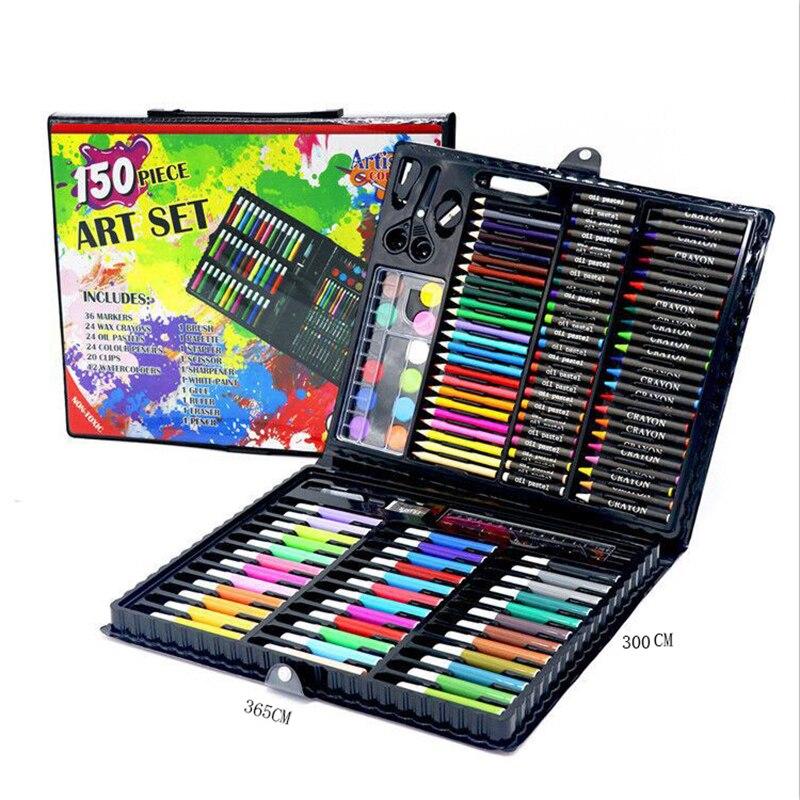 150 Pcs/Set Kids Art Set Children Drawing Set Water Color Pen Crayon Oil Pastel Painting Drawing Tool Art Supplies Stationery