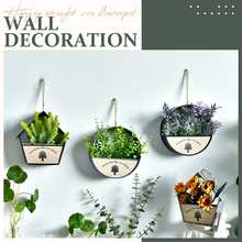 Round Iron Wall Vase Home Living Room Hanging Basket Decorative Flower Pot Wall Decor Succulent Plant Planters Art Glass Vases