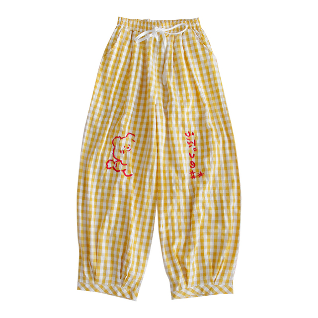 Yellow Plaid Harem Pants Elastic Waist Casual Women Pant Summer Vintage Graphic Embroidery Straight Korean Ladies Trousers